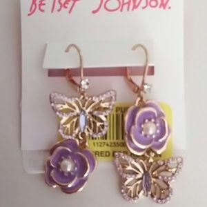 BetseyJohnson New LavenderFlower/Butterfly Earring